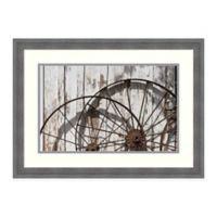 Amanti Art Old Wagon Wheels Against Shed 26 -Inch X 19 -Inch Framed Wall Art