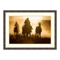 Amanti Art Cowboys Herding Horses 38 -Inch X 28 -Inch Framed Wall Art