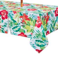 Lanai 60 Inch X 84 Oblong Indoor Outdoor Tablecloth With Umbrella Hole