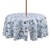Kastoria 70-Inch Round Indoor/Outdoor Tablecloth with Umbrella Hole in Aqua