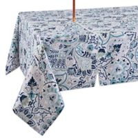 Kastoria 60-Inch x 84-Inch Oblong Indoor/Outdoor Tablecloth with Umbrella Hole in Aqua