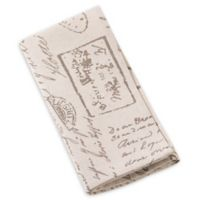 Saro Lifestyle Script Printed Napkins in Natural (Set of 4)