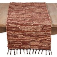 Saro Lifestyle Cuir Chindi 72-Inch Table Runner in Brown