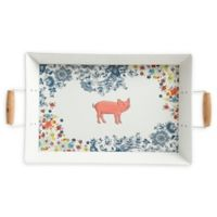 Floral Pig 18-Inch Rectangular Serving Tray