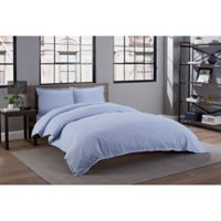 Solid Percale Weave King Duvet Cover Set in Periwinkle