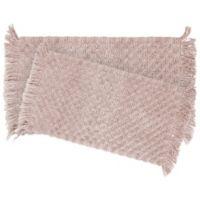 Stonewash Beaded 2-Piece Bath Rug Set in Blush