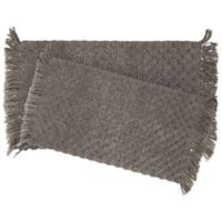 Stonewash Beaded 2-Piece Bath Rug Set in Charcoal