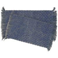 Stonewash Beaded 2-Piece Bath Rug Set in Indigo