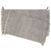 Stonewash Beaded 2-Piece Bath Rug Set in Dove Grey