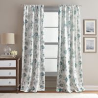 Rose Garden Print 63-Inch Rod Pocket Window Curtain Panel in Aqua