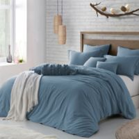 Swift Home Crinkle Pre-washed Microfiber Twin/Twin XL Duvet Cover Set in Blue Dusk