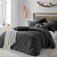 Swift Home Crinkle Pre-washed Microfiber Twin/Twin XL Duvet Cover Set in Charcoal Grey