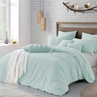 Swift Home Crinkle Pre-washed Microfiber Full/Queen Duvet Cover Set in Dusty Mint