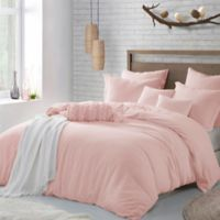 Swift Home Crinkle Pre-washed Microfiber King/California King Duvet Cover Set in Rose Blush
