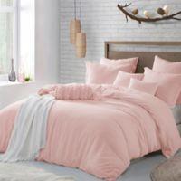 Swift Home Crinkle Pre-washed Microfiber Full/Queen Duvet Cover Set in Rose Blush