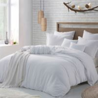 Swift Home Crinkle Pre-washed Microfiber Full/Queen Duvet Cover Set in White