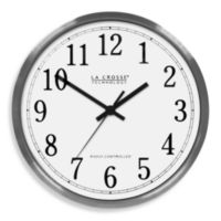"La Crosse Technology 12"" Atomic Aluminum Wall Clock With Brushed Aluminum Frame"