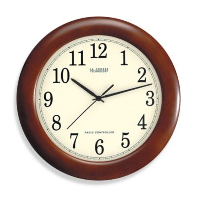 La Crosse Technology 12 Inch Atomic Wall Clock With Dark Red Wood Frame