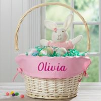 Personalized Willow Easter Basket with Drop-Down Handle in Light Pink