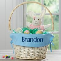 Personalized Willow Easter Basket with Drop-Down Handle in Light Blue
