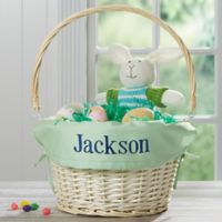Personalized Willow Easter Basket with Drop-Down Handle in Light Green