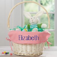 Personalized Willow Easter Basket with Drop-Down Handle in Pink Check