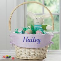 Personalized Willow Easter Basket with Drop-Down Handle in Lavender