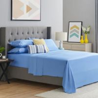 400-Thread-Count Organic Cotton King Sheet Set in Steel Blue