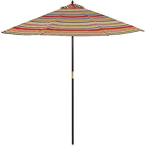 Awesome 9 Foot Round Hardwood Patio Umbrella In Stripe