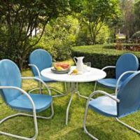 Crosley Griffith 5-Piece Metal Outdoor Dining Set in Sky Blue