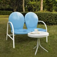Crosley Griffith 2-Piece Metal Outdoor Seating Set in Sky Blue