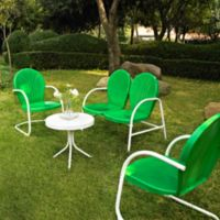 Crosley Griffith 4-Piece Metal Outdoor Seating Set in Grasshopper Green