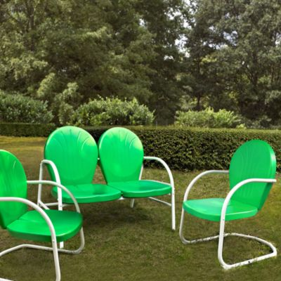 Crosley Griffith 3 Piece Metal Outdoor Seating Set In Grasshopper Green