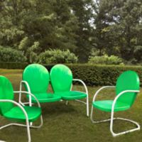 Crosley Griffith 3-Piece Metal Outdoor Seating Set in Grasshopper Green