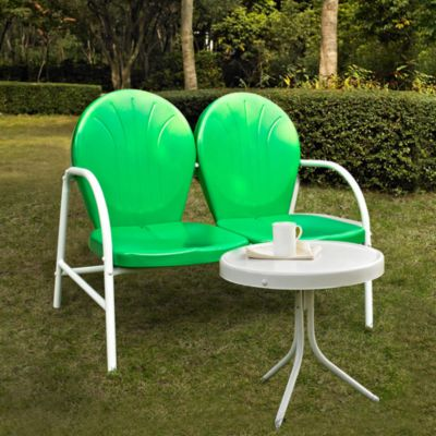 Crosley Griffith 2 Piece Metal Outdoor Seating Set In Grasshopper Green