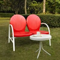 Crosley Griffith 2-Piece Metal Outdoor Seating Set in Red