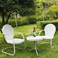Crosley Griffith 3-Piece Metal Outdoor Seating Set in White
