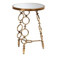 Baxton Studio Nellie Metal and Glass Accent Table in Antique Gold