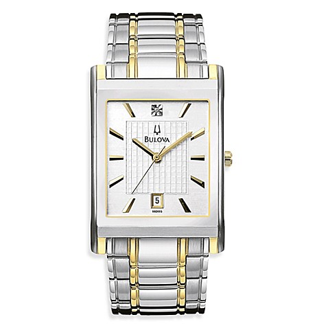 Bulova Men's Diamond Dial Silver Calendar Watch