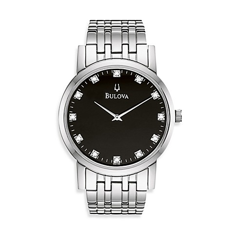 Bulova Men's Diamond Black Dial Silver Bracelet Watch