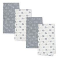 Gerber® 4-Pack Hedgehog Flannel Blankets in Grey