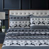 Tribeca Living Gingham Deer Flannel Deep-Pocket Queen Sheet Set in Navy