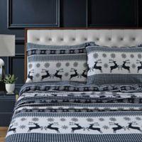Tribeca Living Gingham Deer Flannel Deep-Pocket Queen Sheet Set in Navy