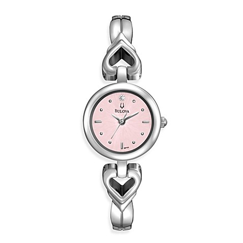 Bulova Women's Open Heart Bracelet Watch