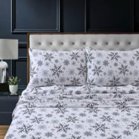 Tribeca Living Let It Snow Flannel Deep-Pocket Twin Sheet Set in Dark Blue