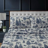 Tribeca Living Mountain Toile Flannel Standard Pillowcases in Navy/Blue (Set of 2)