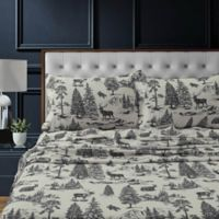 Tribeca Living Mountain Toile Flannel King Pillowcases in Charcoal Grey (Set of 2)