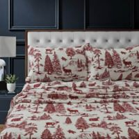 Tribeca Living Mountain Toile Flannel King Pillowcases in Deep Red (Set of 2)