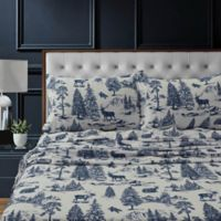 Tribeca Living Mountain Toile Flannel Deep-Pocket Twin Sheet Set in Navy/Blue