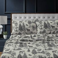 Tribeca Living Mountain Toile Flannel Deep-Pocket Twin Sheet Set in Charcoal Grey